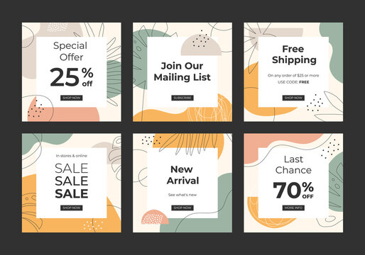 Sale and discount templates with abstract shapes. For social media, mobile apps, banners design and internet ads.