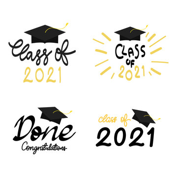 Class of 2021 handwriting set with graduation cap symbol ,isolated on white background ,Vector illustration EPS 10