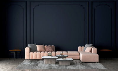 Obraz Modern cozy mock up and decoration furniture of living room and empty dark blue wall texture background, 3D rendering - fototapety do salonu