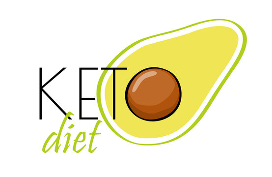 Logo of Ketogenic diet. Typographic sign keto diet for packaging, menu. Keto food, low carb high healthy fats. Sign keto icon stamp illustration