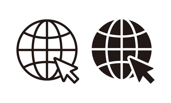 Globe icon, Go to web icon symbol vector. web icon vector