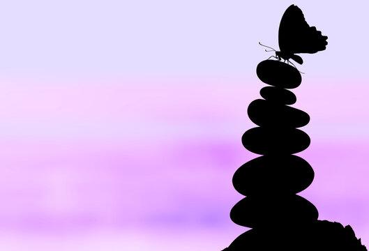 Silhouette de papillon sur pyramide de galets, fond violet
