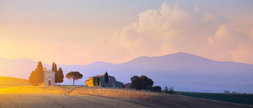 beautiful countryside sunset in Tuscany; Italy landscape