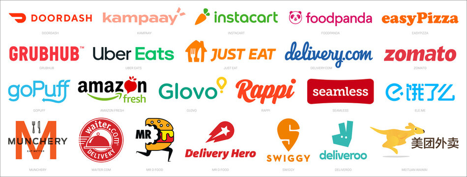 Most Popular Food Delivery Services and apps logos. Big collection of colorful vector logos of world top delivery services like Grubhub, Uber Eats, Delivery Hero, Glovo, Just Eat, Deliveroo and more