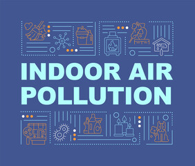 Fototapeta Indoor air pollution word concepts banner. Nature problems because of people pollution. Infographics with linear icons on navy background. Isolated typography. Vector outline RGB color illustration obraz