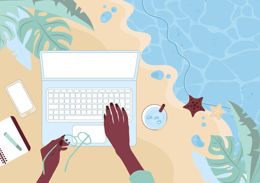 Hands of an African American women working at a laptop by the sea. Remote work concept. Top view of the sandy beach and workspace. Flat vector illustration