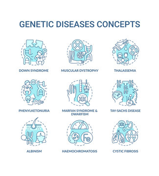 Genetic disease blue concept icons set. Marfan syndrome, dwarfism. Tay sach disease. Hereditary illness idea thin line RGB color illustrations. Vector isolated outline drawings. Editable stroke