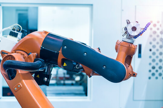 Smart industry robot arms for digital factory production technology showing automation manufacturing process of the Industry 4.0