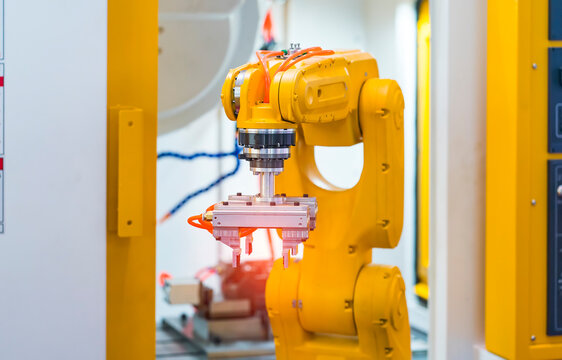 automatic gripping and smart robot working on smart factory,industry 4.0 and technology.