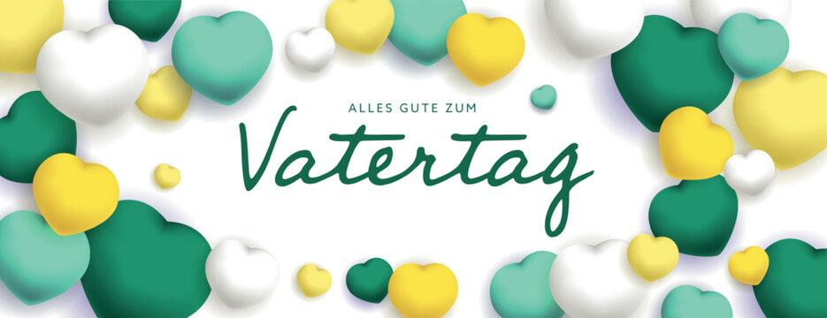 Alles Gute Zum Vatertag sous forme de carte ou bannière, poster ou flyer, avec des losanges et coeurs jaunes, vert et blancs