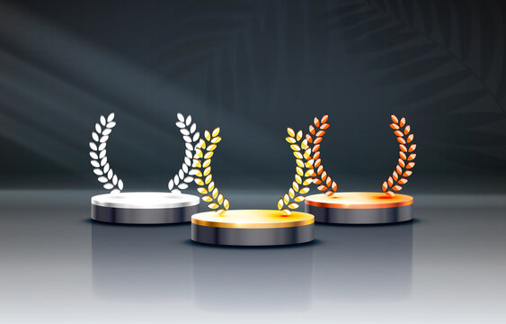 White winners podium for business concepts, Podium set object. Vector