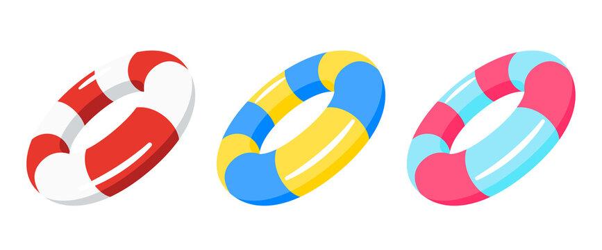 swimming ring, lifebuoy set vector illustration isolated