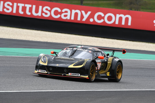 Italy - 25 March, 2021: Lotus Exige V6 Cup R of Lotus PB Racing Team driven by D'Aste-Utzieri-Grimaldi-Abbati in action during 12h Hankook Race at Mugello Circuit in Italy.