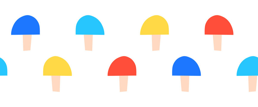 Mushroom seamless border. Cute red blue yellow white mushroom horizontal repeating pattern. Cute fungi nature texture for kids, fabric trim, footer, header, divider, banner, ribbons, duct tapes.