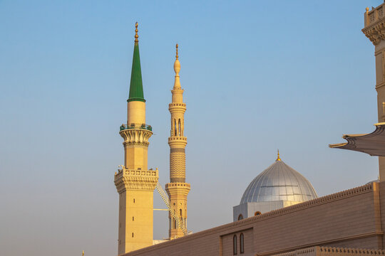 Ottoman Turkish style minaret in Medina. Minarets of Masjid Nabawi - Prophet Mosque. Madinah al Munawwarah