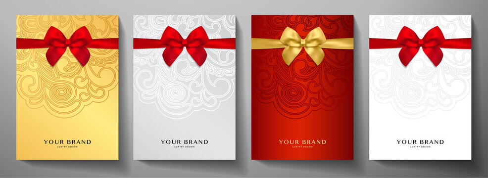 Holiday cover design set. Luxury silver, gold background with red ribbon (bow). Elegant vector collection template for invitation (invite vip card), greeting or gift card, award