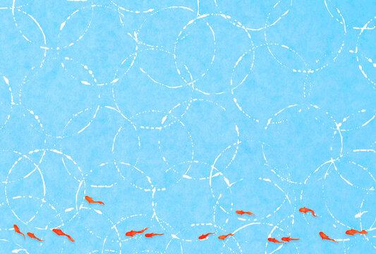 夏のハガキデザイン縦 水と波紋