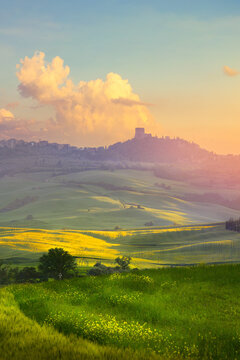 art sunset over Italy countryside landscape. farmland field