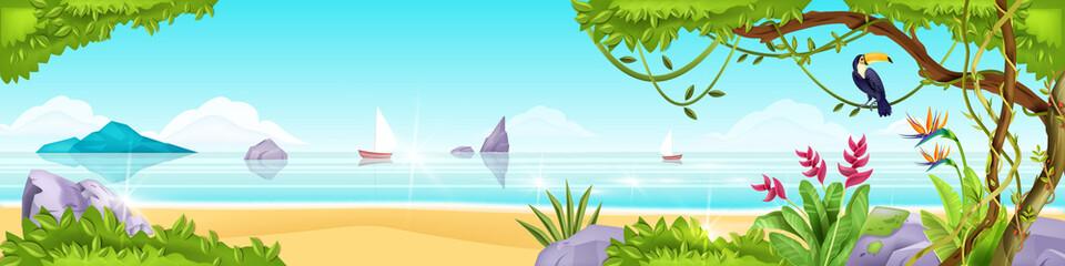 Summer beach jungle island vector landscape, toucan, exotic tree, ocean, sand, rocks, tropical flowers. Paradise nature seashore panoramic view, liana, stones, bushes. Beach landscape vacation banner