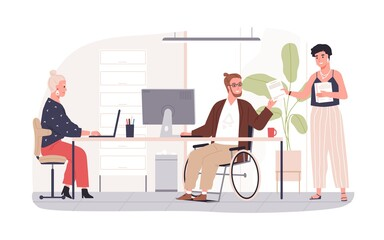 Wheelchair user working in office. Concept of disabled people inclusion into society. Handicapped employee in wheel chair at workplace. Colored flat vector illustration isolated on white background