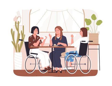 Disabled people in cafe. Concept of wheelchair users inclusion. Diverse friends chatting at table in coffee shop. Young modern women in wheel chair. Flat vector illustration isolated on white