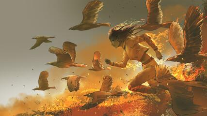 Self adhesive Wall Murals Grandfailure woman running among the fire birds, digital art style, illustration painting