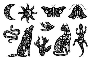 Obraz Set of black silhouettes with white floral elements. Moon, sun, animals, wolf, cat, lizard, cactus, moth, bird, snake. - fototapety do salonu