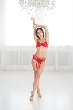 Woman with a perfect body posing in lingerie.
