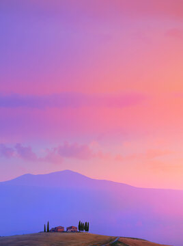 art sunset over Italy mountain countryside landscape. farmland field
