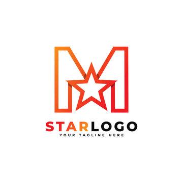 Letter M star logo Linear Style, Orange Color. Usable for Winner, Award and Premium Logos.