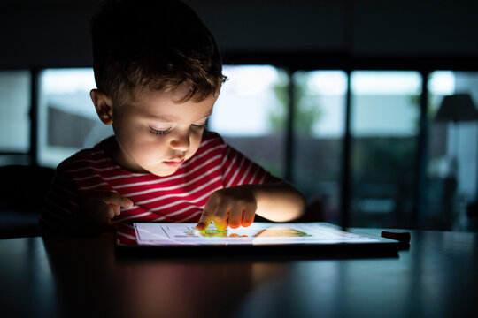 Boy using digital tablet at home