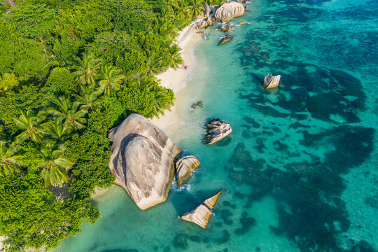 Drone view of Anse Source DArgent beach in summer