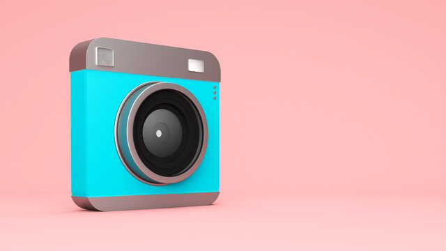 Three dimensional render of old-fashioned camera standing against pink background