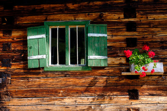 Flowers by green window of wooden house