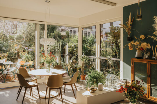 Dining room with flowers and plants at home