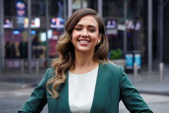 Jessica Alba, actor and businesswoman, poses during the IPO of The Honest Company in New York