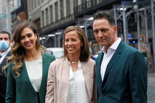 Jessica Alba, actor and businesswoman, Nick Vlahos, CEO of The Honest Company, and Adena Friedman, President and CEO of Nasdaq, pose together during The Honest Company's IPO in New York