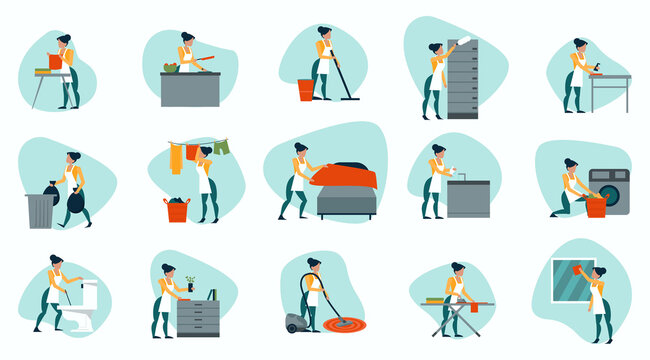 Vector of a housewife busy with home  errands