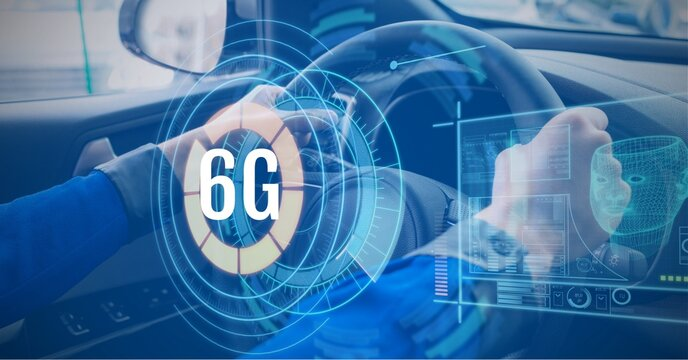 Composition of 6g text and icons over scope, digital screen and man driving car