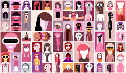 People. Large set of flat design people avatars. Pop art collage of close up portraits. Can be used as seamless wallpaper.