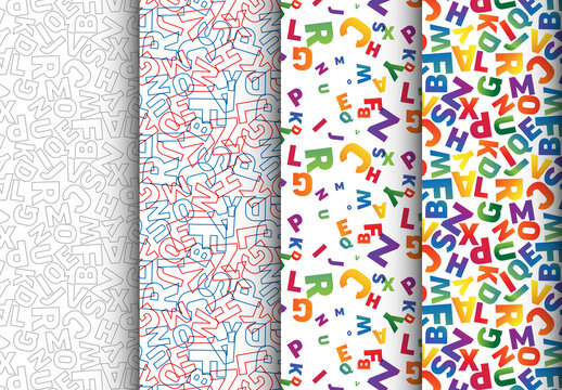 Four Various Pattern with Colorful Numbers