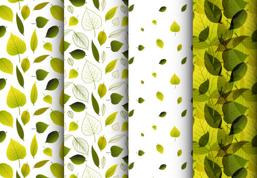 Four Various Pattern with Nature Green Leafs