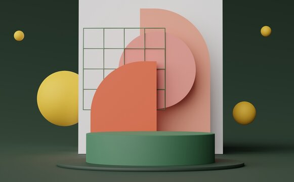 3d render of Abstract minimal  display podium for showing products, cosmetic presentation and mock up. Showcase scene with pastel earth tone background. Illuminated simple geometric shapes.