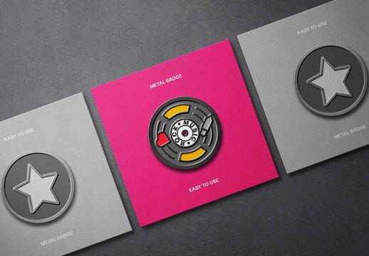 Metal Pin Badges on Cardboard Cards Mockup Scene