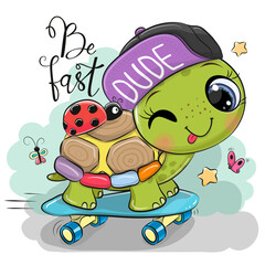 Turtle with a purple cap and a skateboard