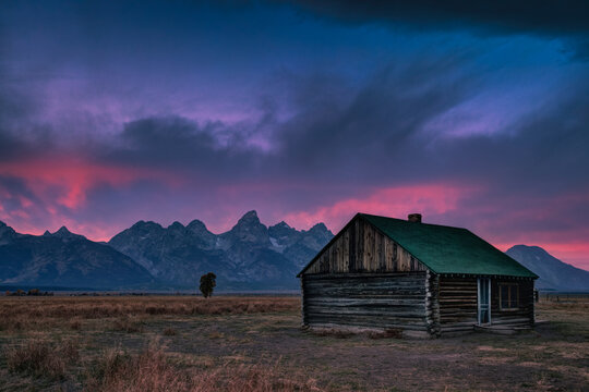 Standalone cabin at sunset in Grand Teton, Wyoming