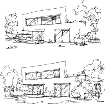 two hand drawn architectural sketches of modern two story detached house with flat roof and people around