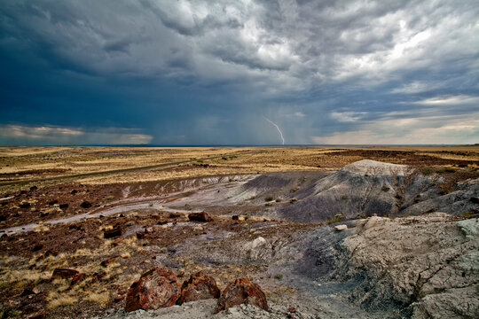 Dramatic Storm and lightning, Petrified Forest National Park, Arizona