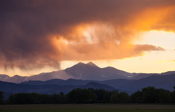 Longs Peak as seen from outside of Longmont, CO at sunset on a summer evening.