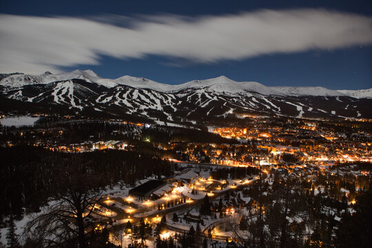 View of Breckenridge, Colorado at night in the winter.